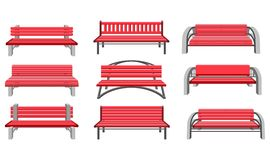 Set park benches. Vector illustration set of urban park bench on a white background front view Stock Images