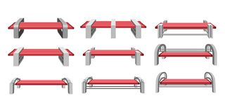 Set park benches. Vector illustration set of urban park bench on a white background front view Royalty Free Stock Photography