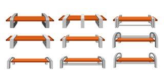 Set park benches Stock Photos