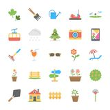 Set of Park and Garden Flat Vector Icons royalty free illustration
