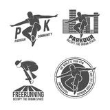 Set of parkour and free running badges Royalty Free Stock Photography