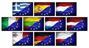 Set (part 2) big different national flags mixed with European Union flag. Royalty Free Stock Photo