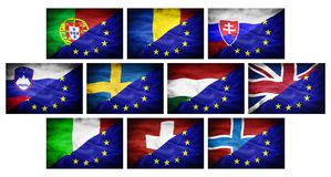Set (part 3) big different national flags mixed with European Union flag. Royalty Free Stock Photography