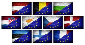 Set (part 1) big different national flags mixed with European Union flag. Royalty Free Stock Photos