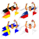 Set of participant countries flags with players. Stock Image