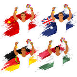 Set of participant countries flags with players. Royalty Free Stock Photography