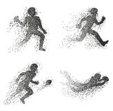 Set of particle divergent silhouettes of american football players. Vector abstract characters illustrations Stock Photos