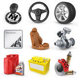 Set of parts of car. 3d render icons. Isolation on, white background Stock Images