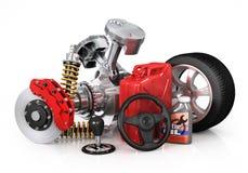 Set of parts of car. 3d render. Stock Photos