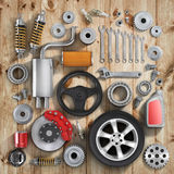 Set of parts of car. Royalty Free Stock Photos