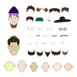 A set of parts of the human face and hats on an Royalty Free Stock Photos