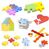 Set of parts of a puzzle Stock Images