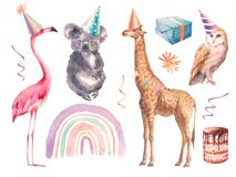 Set of party animals isolated on white