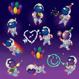 Set of party astronauts in space Royalty Free Stock Photos
