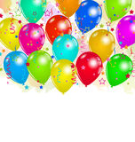 Set party balloons, confetti with space for text Royalty Free Stock Photo