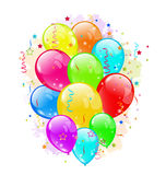 Set party balloons and confetti on white backgroun Stock Photos