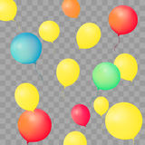 Set of party balloons on transparent background. Different colored realistic balloons vector illustration. Set of party balloons on transparent background Stock Photo
