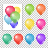 Set of party balloons on transparent background. Different colored realistic balloons vector illustration Royalty Free Stock Image