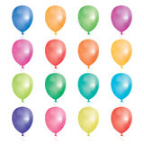 Set of 16 party balloons. Vector illustration. Balloons different colors isolated on white background Royalty Free Stock Images