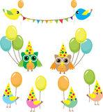 Set of party birds Royalty Free Stock Images