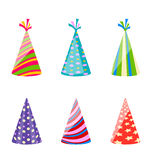 Set of party colorful hats isolated on white background. Illustration set of party colorful hats isolated on white background - vector stock illustration