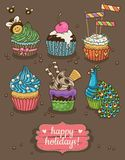 Set of party cupcakes with different toppings Royalty Free Stock Photo