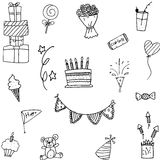 Set party doodle hand draw Stock Photography