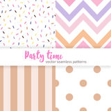 Set of party fun seamless patterns. Set of Vector fun and delicate party seamless patterns in light pink and tan colors. Confetti, polka dot, chevron and line Royalty Free Stock Photography
