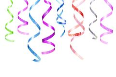 Set of Party hanging curling ribbons isolated on white background. Christmas decorations elements. Various serpentine or tapes royalty free stock photography