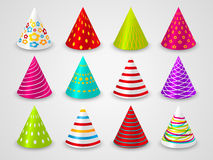 Set of party hats. Set of party paper hats Royalty Free Stock Images