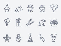 Set of 15 Party icons. Party icons. Thin lines. Flat design Royalty Free Stock Images