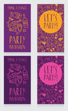 Set of party invitation templates, disco style Stock Photography
