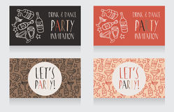 Set of party invitation templates, retro style Stock Photo