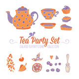 A set of party objects for tea time Royalty Free Stock Photos
