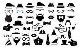 Set the party. the person`s face fake. Glasses hats lips mustaches tie monocle icons vector illustration stock illustration