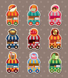 Set of party shop market cart stickers royalty free illustration