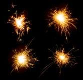 Set partyjni wakacyjni sparklers odizolowywający na czerni zdjęcie stock