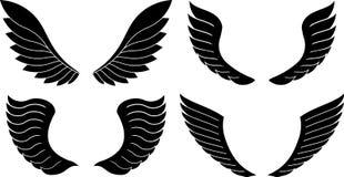 Set 4 pary dekoracyjni skrzydła odizolowywający na bielu Zdjęcia Stock