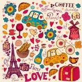 Set Paryscy symbole ilustracja wektor