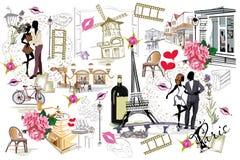 Set Paryskie ilustracje z dziewczynami, kawiarniami i muzykami mody, royalty ilustracja