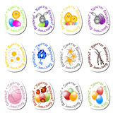 Set of paschal stickers for eggs for greeting with Easter Stock Image