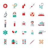 Set płaskie Medyczne ikony Zdjęcie Stock