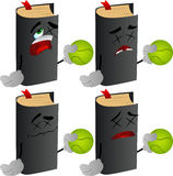 Set of passed out or wounded book holding a tennis ball Royalty Free Stock Photos