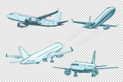 Set of passenger airplanes Stock Photography