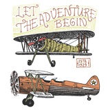 Set of passenger airplanes corncob or plane aviation travel illustration. engraved hand drawn in old sketch style Stock Photography