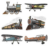Set of passenger train and airplanes corncob or plane aviation travel illustration. engraved hand drawn in old sketch Stock Images