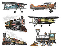Set of passenger train and airplanes corncob or plane aviation travel illustration. engraved hand drawn in old sketch royalty free illustration