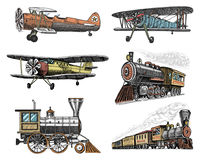 Set of passenger train and airplanes corncob or plane aviation travel illustration. engraved hand drawn in old sketch. Style, vintage transport Royalty Free Stock Images
