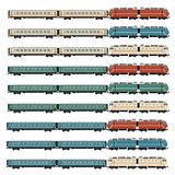 Set of passenger trains Royalty Free Stock Photography