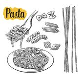 Set pasta - farfalle, conchiglie, penne, fusilli, spaghetti. Vector vintage black illustration isolated on white background Royalty Free Stock Images